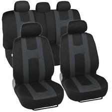 Rome Sport Car Seat Covers Set Front & Rear Racing Stripes Charcoal on Black