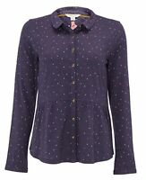 New White Stuff size 6 - 18 Mini Spot Jersey Cotton Navy Blue Shirt Blouse Top