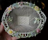 LOVELY SINGLE PAD BELLEEK 4 STRAND 2 HANDLED FLORAL LADEN OVAL BASKET #1 PERFECT