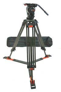 O'Connor 5-15 Head 100mm CF Carbon TRIPOD SYS PAN BAR GRSPR PLATE SERVICED 20Lbs
