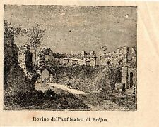 Stampa antica FREJUS veduta rovine anfiteatro Var Provenza 1897 Old Print