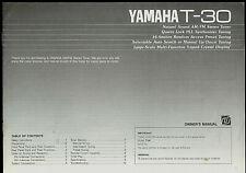 Yamaha T-30 Am Fm Tuner Factory Original Owner's Instruction Manual