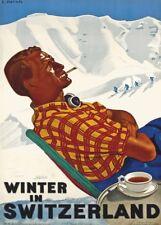 Vintage Ski Posters WINTER IN SWITZERLAND, 1938, Swiss Art Deco Travel Print