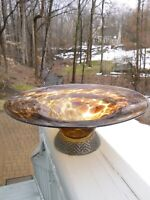 Vintage Tortoise Shell Leopard Print Glass Large Bowl w/ Metal Base Unsigned