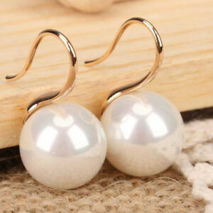 Huge 16mm Natural White South Sea Shell Pearl 14K Gold Plated Dangle Earrings