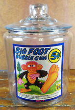 Big Foot Animal 5¢ Bubble Gum General Store Advertising Glass Counter Jar w/Lid