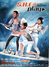 "S.H.E. ""PLAY"" MALAYSIA PROMO POSTER -HK Mandopop Girl Group Posing On Surf Board"