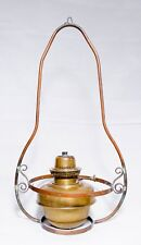 ANTIQUE OIL LAMP, ORNATE HANGING BRACKET, Brass Veritas Sump