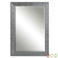 Tarek Contemporary Silver Beaded Frame Modern Style Wall Hanging Mirror 14604
