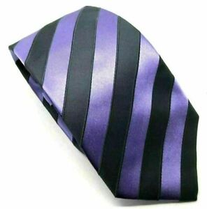"""Ben Sherman Men's Tie Purple Striped Designer 100% Silk 3.25"""" Width 60"""" Long"""
