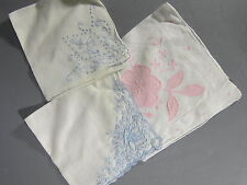 Lot of 3 Blue & Pink Ladies Handkerchiefs Hankies / Lovely For A Bride!