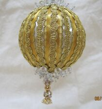 Handmade Christmas Tree Ornament Gold on White, Faceted Rondelles, Gold Trim
