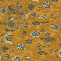 SALVATORE FERRAGAMO Bird in the Wind Floral Ochre Blue Mens Silk Neck Tie