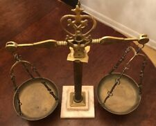 Antique Ornate Brass Balance Scale With Marble Base