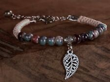 JEWELLERY-CHILDS BRACELET 1 x Ceramic Bead Bracelet w Tibetan Silver Leaf Charm