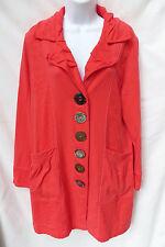 NEON BUDDHA Womens Pink Salmon Big Button Soft Cotton Long Coat Jacket L