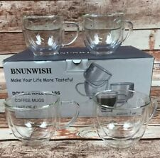 Double Wall Glass Cappuccino Coffee Mugs Set Of 4 - 7 OZ / 200 ML
