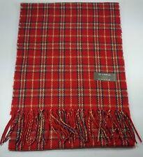 New Women Tartan Winter Scarf Plaid Wrap Checker Shawl Tassel Red Made in Taiwan