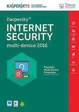 Kaspersky Internet Security 2016 multidevice, 5PC/2 año, (Android/Mac), antivirus