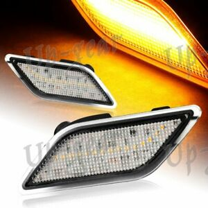 For 12-14 Mercedes Benz W204 C-Class Clear Lens Amber LED Side Marker Lights