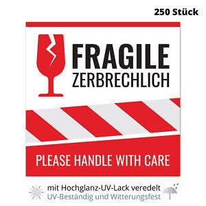 10-250 Aufkleber Vorsicht Glas, Achtung zerbrechlich, fragile Warnetiketten Groß