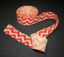 """1-1/2"""" Burlap Red Chevron Ribbon Christmas Gift Bows Wreaths Crafts - 5 Yds."""
