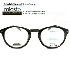 MIASTO MULTI-FOCAL (NO LINE BIFOCAL) COMPUTER READER READING GLASSES +1.00 BLACK