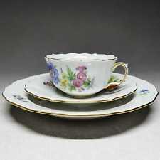 Meissen Blume 3 - Teegedeck, 3-teilig Teetasse Kuchenteller Untertasse #B665