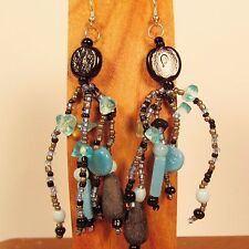"3"" Blue Multi Color Mixed Bead Bohemian Style Handmade Dangle Seed Bead Earring"