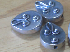 Bali sterling silver beads~teardrop-13x10x5mm-1mm hole-metal spacer-oxidized