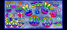 PEACE Hippy Rainbow Love Flower Large Decal 1 Pack Car Stickers Decal- ST00007D1