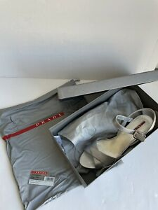 Ladies Prada Silver Strappy Block Heel Sandals/Shoe Size UK7 (EU41) CS