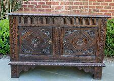 Antique English Renaissance Revival CARVED Oak Chest Cabinet Blanket Box Coffer