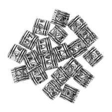 20pcs Silver Dread Lock Dreadlocks Cuffs Hair Beads Decoration Filigree Tube