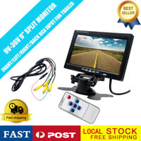 "9"" Car Quad Split Monitor LCD Screen 4ch RCA for Auto Truck CCTV System 12V 24V"