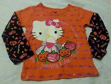 Halloween Tee Shirt Baby Girls 3T Hello Kitty Orange Toddler