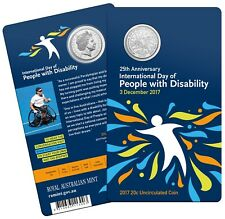 2017 PEOPLE WITH DISABILITY 20 CENTS UNC COIN ON RAM CARD AS ISSUED