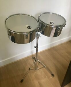 """Vintage Pearl Steel Shell Timbales (13"""", 14"""") plus Pearl Stand & new LP heads"""