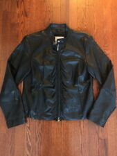 Women's Wilsons Leather MAXIMA BLACK fitted Motorcycle Jacket Coat size LARGE