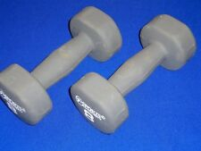 Pair of 2 Sports Authority 8 lb Steel Dumbbells w/ Gray Neoprene Cover 16 lbs