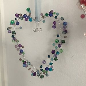 Shabby Hanging Large Beaded Heart Decorations in 8 Colours