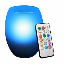 Remote Control Multi Color Flameless Led Candle with Oval Frosted Glass Holder