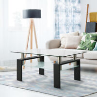 Rectangular Glass Coffee Table Modern Shelf Wood Living Furniture Room New USA