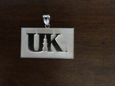 Solid Sterling Silver UK Tag Pendant