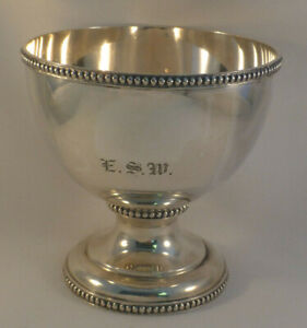 "Bigelow & Kennard Coin Silver Beaded Footed Bowl-5"" tall- Mono ESW"