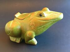 Vintage Frog Toad Amphibian Wood Carving Figure Hidden Secret Compartment