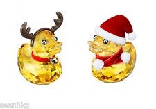 Swarovski Happy Duck Santa And Reindeer, Christmas Crystal Figurine MIB 5004497