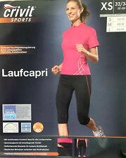 Damen Laufhose Laufcapri Schwarz Kurz Capri Jogging Caprihose XS 32/34 32 34 NEU