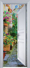 Sticker porte trompe l'oeil déco Ruelle Fleurie 90x200 cm réf 2108