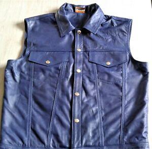 Lederhemd UNIKAT NEU XL Weste Leder neu blau LEDERFUTTER  leather shirt XL